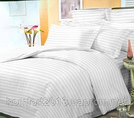 Полуторное постельное белье, Сатин Stripe PREMIUM, WHITE 2/2см