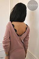 Красивое ангоровое платье с вырезом и кружевом на спинке 5