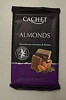 Шоколад CACHET 300 грамм, молочный с миндалем и изюмом , Бельгия