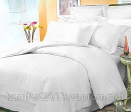 Полуторное постельное белье, Сатин Stripe PREMIUM, WHITE 0.2/0.2см