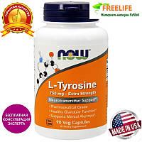 Now Foods, L-тирозин, Высокоэффективное средство, 750 мг, 90 капсул, купить, цена, отзывы