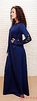Женское длинное свободное платье в пол с латками и рукавами-митенками