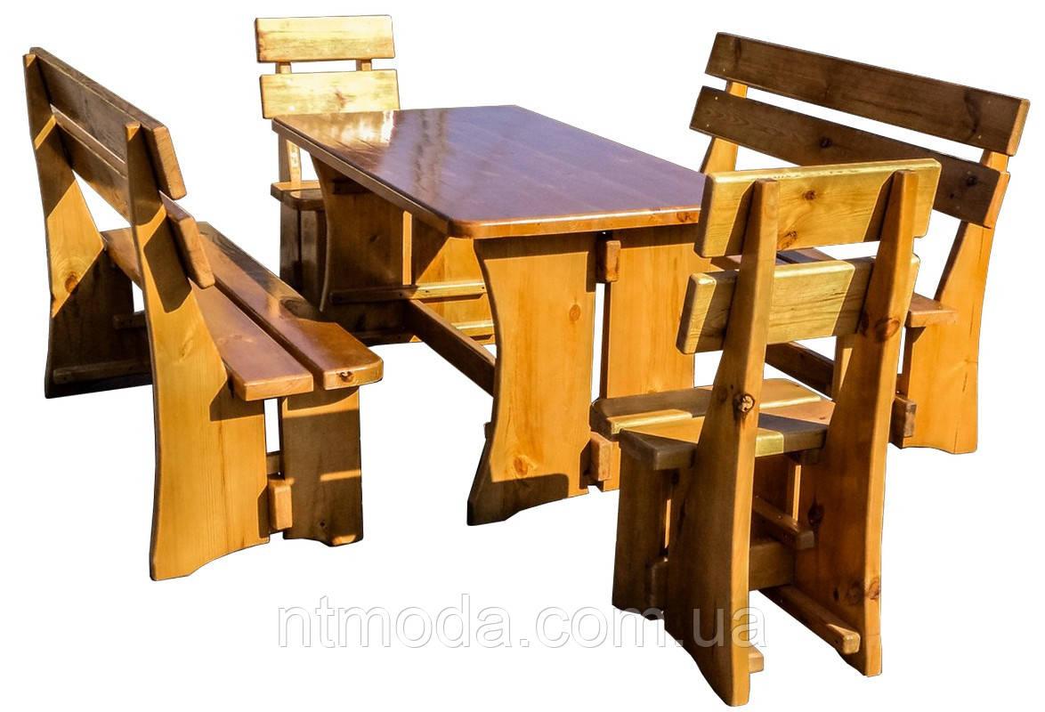 Стол деревянный с лавками и стульчиками. СД-004-1