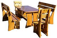 Стол деревянный с лавками и стульчиками. СД-004-1, фото 1