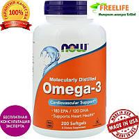 Омега-3 Now Foods, Omega-3, 180ЕРА,  200 капсул