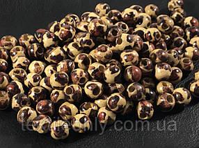 Дерев'яні намистини темний леопард 9мм упаковка 100шт