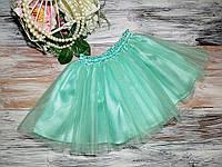 Детская Фатиновая  юбка  25 см Мята( еврофатин)