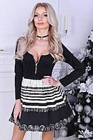 Коктейльное платье с принтом на молнии , фото 1