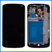 Дисплей (экран) для LG E960 Nexus 4 + тачскрин, черный, с передней панелью, оригинал
