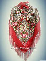 Шерстяной платок с атласной нитью, красный 140см