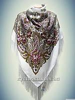 Шерстяной платок с атласной нитью, белый 140см