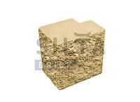 Заборный полублок декоративный полнотелый угловой «Силта Брик» желтый элит, фото 1