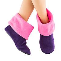 Домашние тапочки темно фиолетовые с розовым манжетом_склад 34-35, фото 1