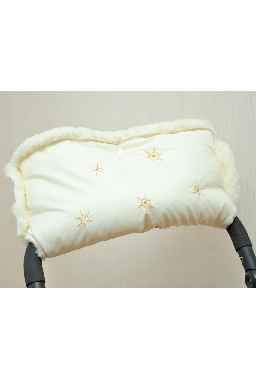Муфта для коляски на овчині молочна