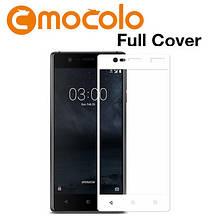 Защитное стекло Mocolo Full сover для Nokia 3 белый