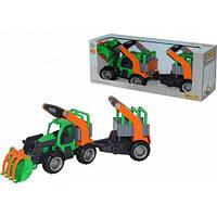 ГрипТрак, трактор-погрузчик с полуприцепом для животных (в коробке) 37398