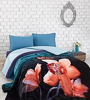 Комплект постельного белья с пледом Cotton Box Digital Battaniyeli Neveresim Alina petrol