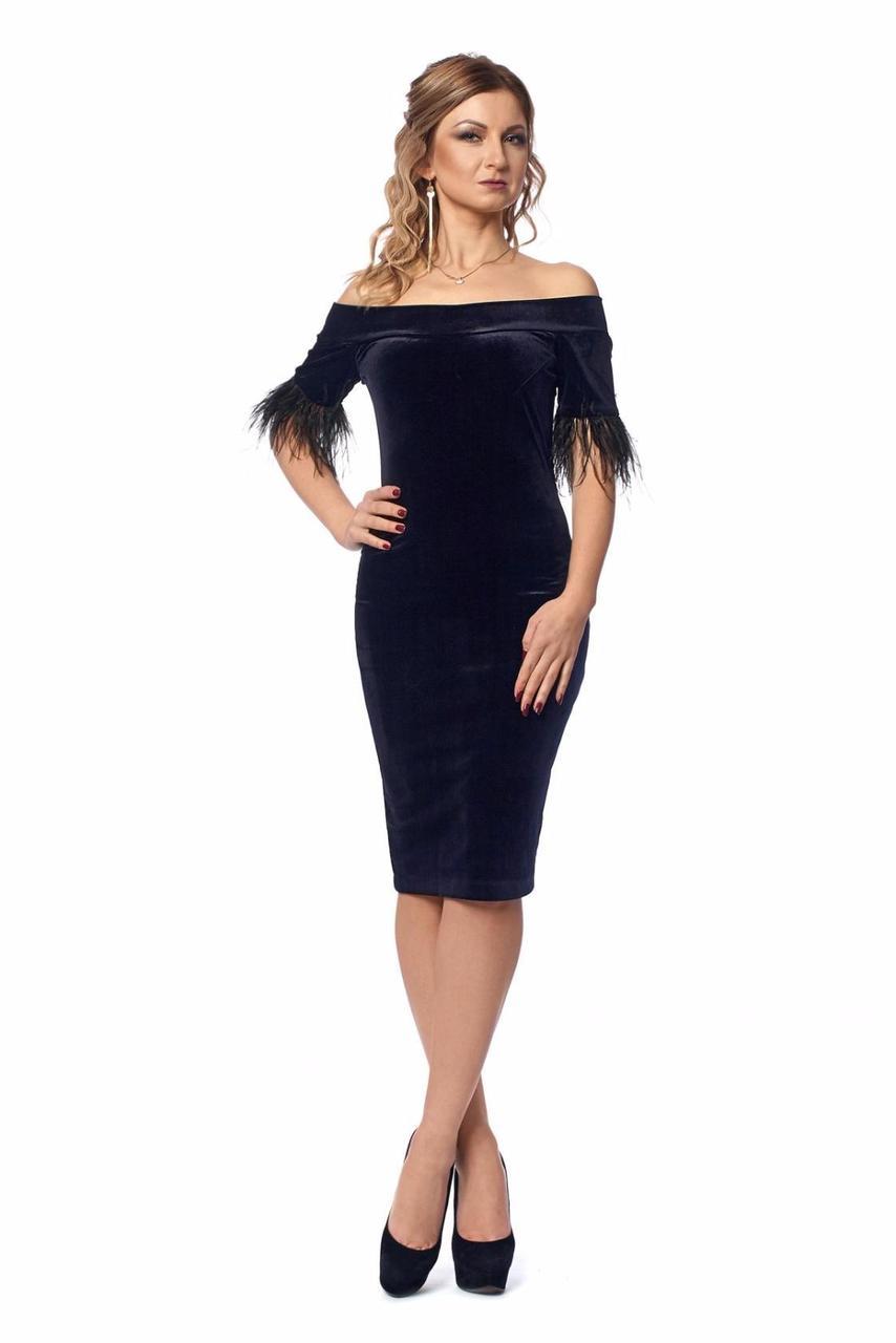 Бархатное женское платье-футляр - Оптово - розничный магазин одежды
