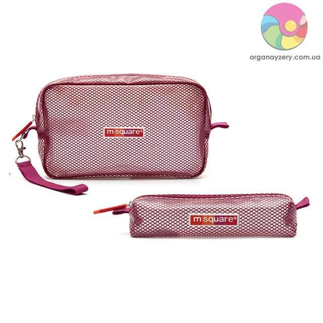 Набор прозрачных косметичек (розовый) (2 шт)