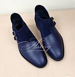 Мужские синие кожаные полуботинки, фото 2