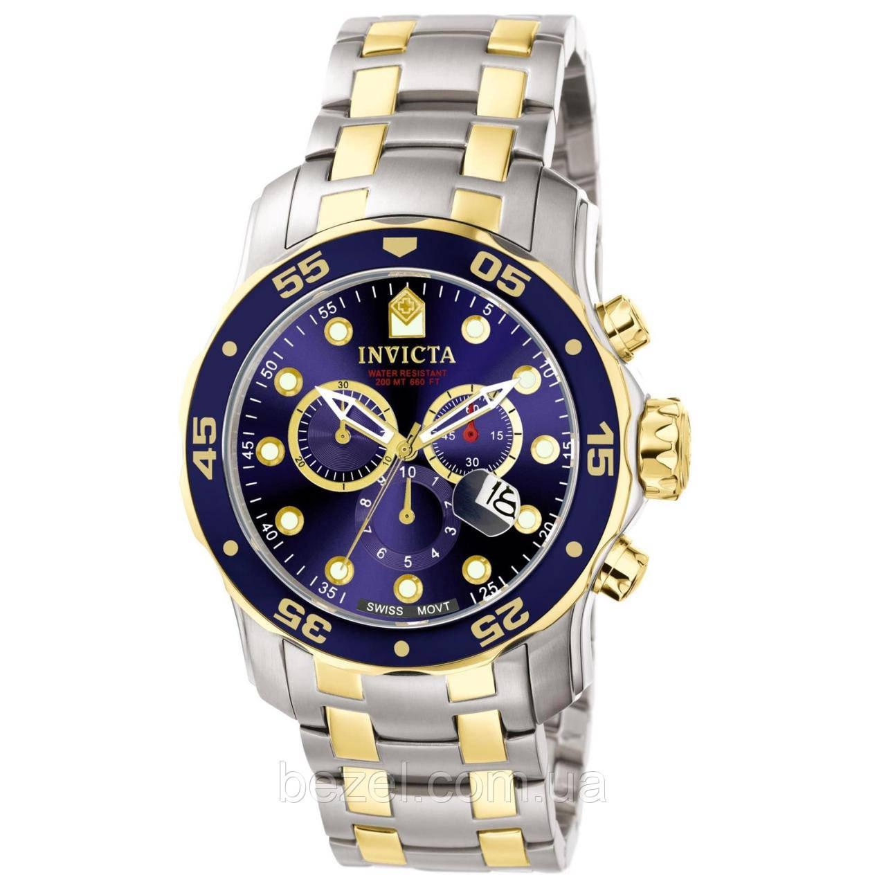 Мужские швейцарские часы INVICTA 0077 Pro Diver Инвикта дайвер водонепроницаемые швейцарские для дайвинга