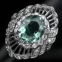 """Шикарный перстень с аквамарином и белыми сапфирами """"Магнолия"""", размер 16.4 от студии LadyStyle.Biz"""