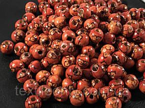 Дерев'яні намистини 9 мм принт квітка упаковка 100 шт