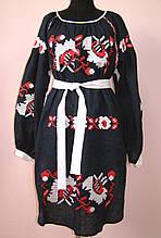 Платье черное с вышитыми цветами маки