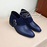 Мужские синие кожаные полуботинки, фото 3