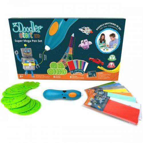 3D-ручка для детского творчества - МЕГАКРЕАТИВ 192 стержня 8 шаблонов