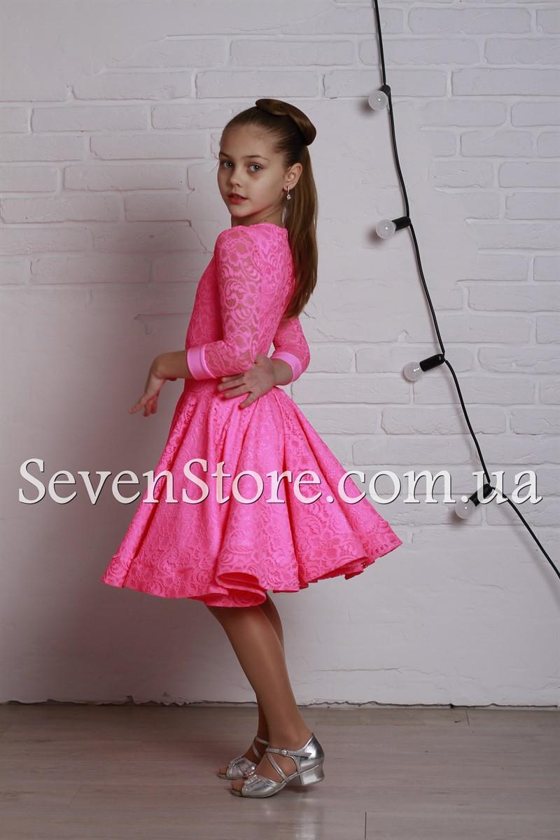 Рейтинговое платье Бейсик для бальных танцев Sevenstore 9101 Ярко розовый