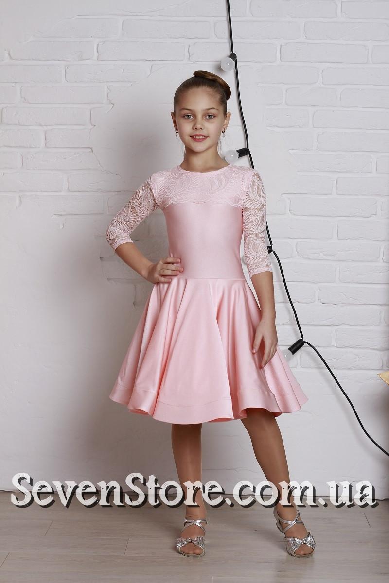 Рейтинговое платье Бейсик для бальных танцев Sevenstore 9109 Нежно розовый