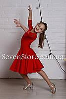 Рейтинговое платье Бейсик для бальных танцев Sevenstore 9109 Красное