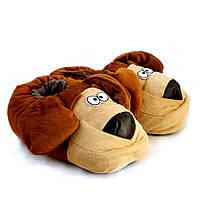 """Теплые тапочки-игрушки """"Собачки"""" (Пёс), коричневый"""