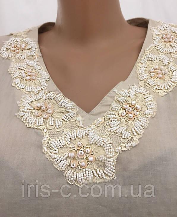 Блуза туника женская, с кружевами, вышитая бисером, размер L