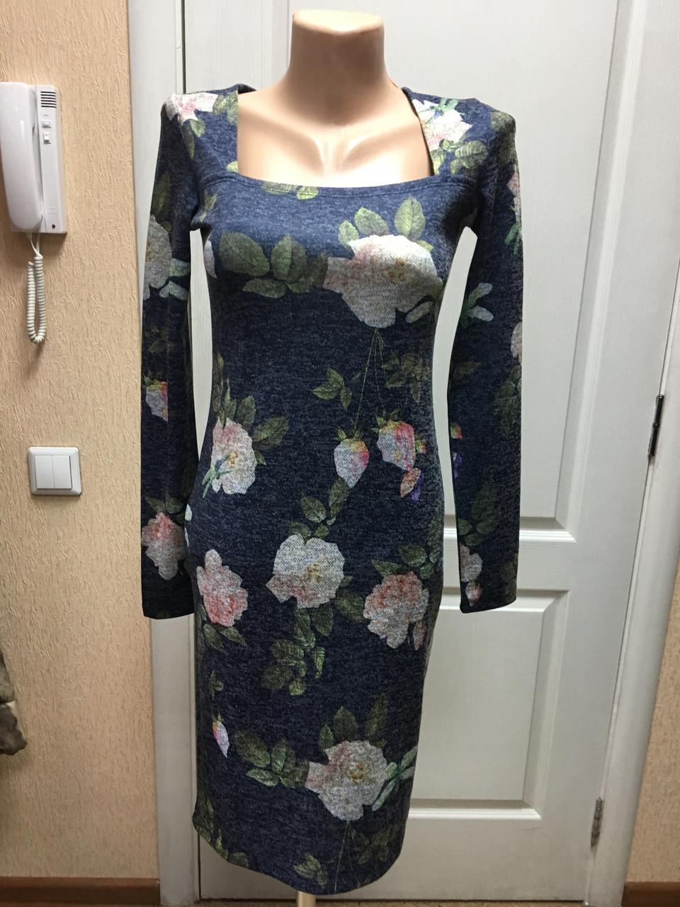 Новинка женское  платье роза дл. рукав, деловое офисное нарядное серое синее