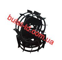 Колеса с грунтозацепами Ø 450мм (профильная труба 15х15, высота зацепа 40мм, ширина 160мм, вес 10кг/пара)