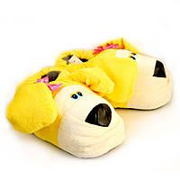 """Теплые домашние тапочки-игрушки """"Собачки"""", желтые"""