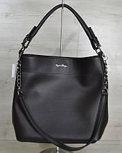 Женская молодежная сумка-цепочка черного цвета (никель)