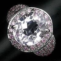 """Шикарное кольцо с кунцитом и розовыми сапфирами """"Восход"""", размер 16,7 от студии LadyStyle.Biz"""