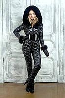 Женский зимний комбинезон с рукавичками украшен мехом , фото 1