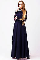 """Грациозное платье в пол """"Марисабель"""" темно-синего цвета с элементами гипюра и ярких украшений."""