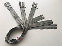 Застежка молния RIRI 4 метал полированная зубья серебро 60 см брелок Lang разъемная тесьма сатин полынь