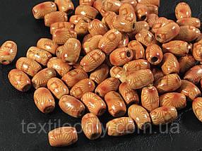 Деревянные бусины светлые узоры 12х8 мм упаковка 50шт