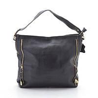 Женская сумка кожаная темно-коричневая с двумя ремешками (натуральная кожа)