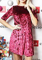 Женское велюровое платье  (цвет бордовый) / Платье женское выше колен