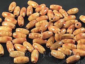 Деревянные бусины светлые узоры 15х7 мм упаковка 50шт