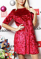 Женское велюровое платье  (цвет красный) / Платье женское выше колен