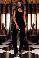 Женский брючный костюм-двойка Паули черный из бархата