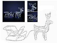 Гирлянда 3D фигура светодиодная Олень с салазками